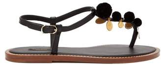 Dolce & Gabbana Portofino T Bar And Pompom Leather Sandals - Womens - Black