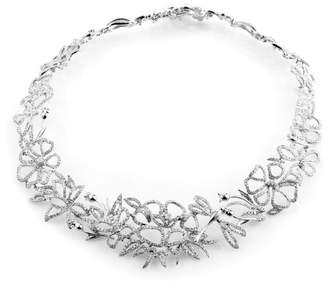 Gucci 18K White Gold Diamond Floral Choker Necklace