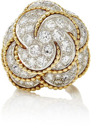 Fred Leighton One-Of-A-Kind Yellow Gold And Diamond Stylized Cloud Bombe Ring Circa 1970S