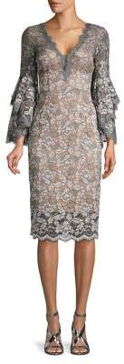 Betsy & Adam Tiered-Sleeve Lace Sheath Dress