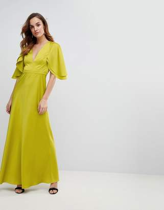 Asos Design DESIGN maxi dress in satin with flutter sleeve
