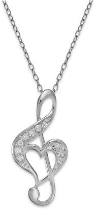 Macy's Treble Clef Heart Pendant Necklace in Sterling Silver (1/10 ct. t.w.)