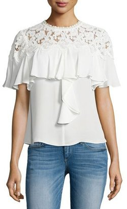 Rebecca Taylor Ruffled Lace-Yoke Georgette Top, Chalk $395 thestylecure.com