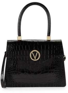 Melanie Croc-Embossed Leather Top Handle Bag