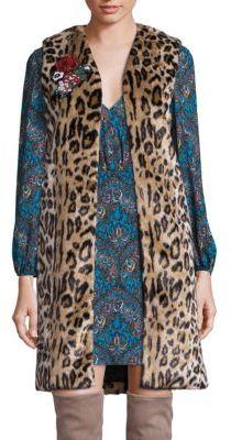 Alice + OliviaAlice + Olivia Jade Faux Fur Leopard-Print Vest