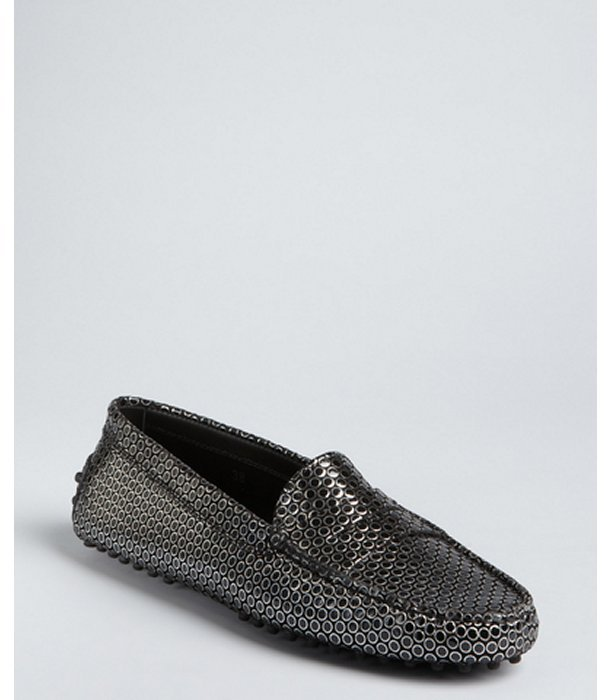 Tod's black and silver circle embossed penny loafers