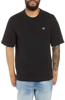 True Religion Brand Jeans Raw Edge Zipper Crewneck