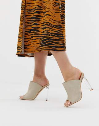 clear In The Style faux suede mules with heels