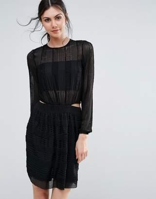 Endless Rose Long Sleeve Textured Skater Dress