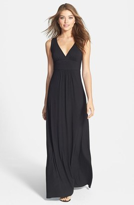 Petite Women's Loveappella V-Neck Jersey Maxi Dress $68 thestylecure.com