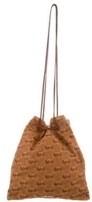 Prada Embroidered Drawstring Bag