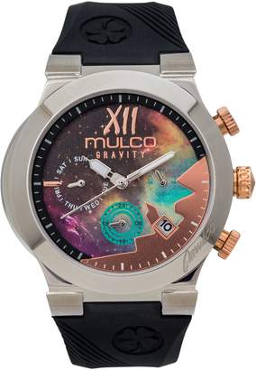 Mulco Watches Inc Gravity Galaxi Swiss Multifunctional Quartz Watch - Premium Multicolor Analog Sundial With Black 100% Silicone Band- Rose Gold Accents- Water Resistant Stainless Steel -Women's Fashion