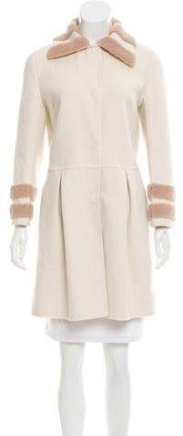 Fendi Wool Shearling-Trimmed Coat