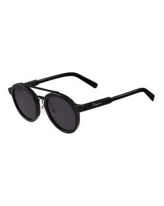 Salvatore Ferragamo Universal-Fit Classic Logo Round Sunglasses, Black $326 thestylecure.com