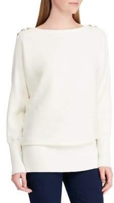 Lauren Ralph Lauren Button-Shoulder Ribbed Sweater