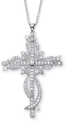 """PalmBeach Jewelry Palm Beach Jewelry 3.12 TCW Round Cubic Zirconia Cross Pendant Necklace in Silvertone 18"""""""