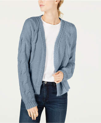 Crave Fame Juniors' Open-Front Cable Knit Cardigan