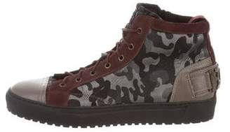 John Galliano Camouflage Leather-Trimmed Sneakers