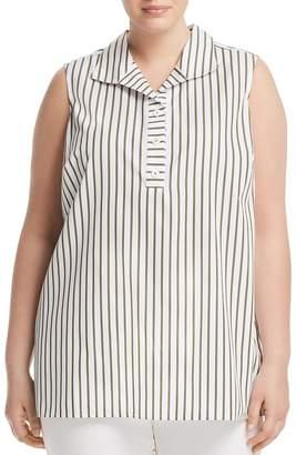 Foxcroft Plus Dani Sleeveless Striped Tunic Top