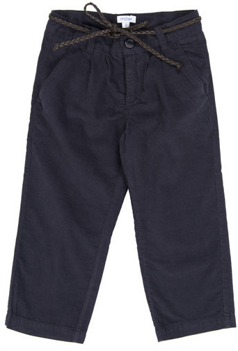 Miller Cotton Corduroy Trouser with Braided Leather Belt in Navy