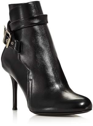 Chloé Women's Scott Round Toe Leather High-Heel Booties