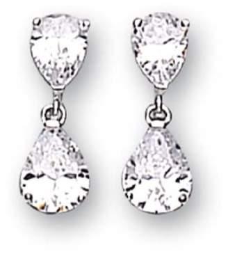 c03ac12df Adara Sterling Silver Cubic Zirconia Double Pear Shape Earrings