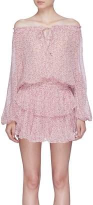 LoveShackFancy 'Popver' floral print off-shoulder silk dress