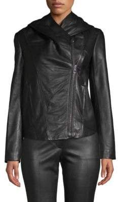 Helmut Lang Hooded Leather Moto Jacket