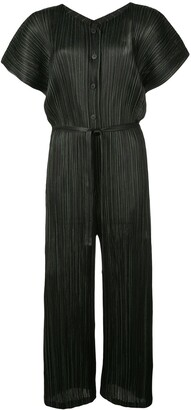 Pleats Please Issey Miyake pleated Shiny Stripes jumpsuit