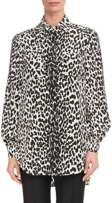 Givenchy Leopard-Print Button-Down Long-Sleeve Silk Blouse