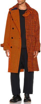 Sacai Glencheck Coat in Black & Orange | FWRD