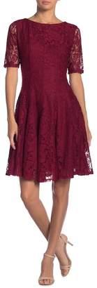 Gabby Skye Elbow Sleeve Lace Fit & Flare Dress