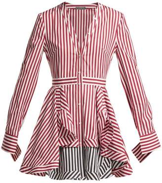Alexander Mcqueen - Striped Cotton Poplin Mini Dress - Womens - Burgundy Stripe