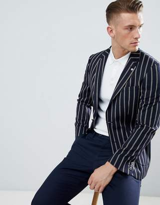 Burton Menswear Regular Fit Blazer In Navy Stripe