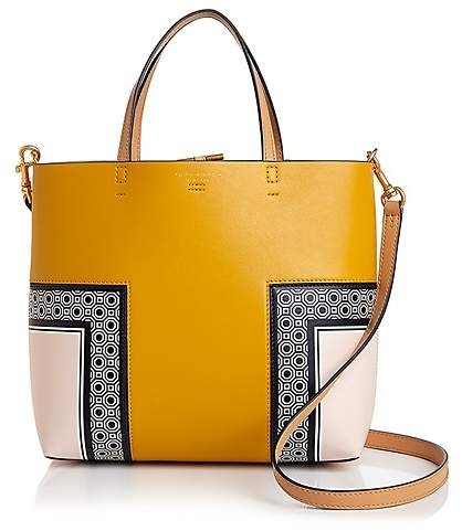 Tory Burch Block T Printed Mini Leather Tote - OCTAGON SQUARE MULTI/GOLD - STYLE