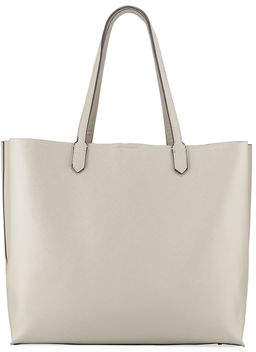 Neiman Marcus Large Saffiano Velvet-Lined Shoulder Tote Bag