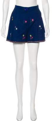 Thierry Colson Embroidered Mid-Rise Mini Shorts