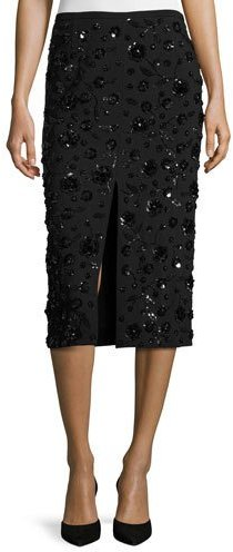 Michael Kors Collection Sequined-Floral Front-Slit Pencil Skirt, Black