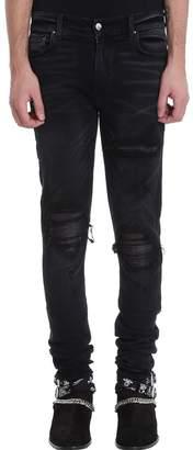 Amiri Mx1 Leather Patch Black Denim Jeans