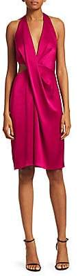Halston Women's Cut-Out Satin Halter Sheath Dress