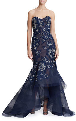 Marchesa Strapless Floral-Embroidered High-Low Gown