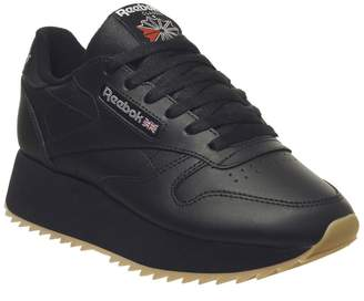 3a77a63b504 Reebok Classic Leather Double Trainers Black Gum Silver Metallic