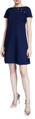 Chiara Boni Rosario Cap-Sleeve Looped Grommet A-Line Dress