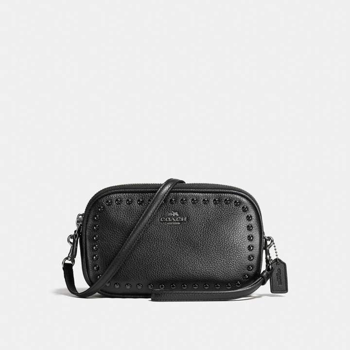 Coach New YorkCoach Crossbody Clutch With Lacquer Rivets - BLACK/BLACK ANTIQUE NICKEL - STYLE