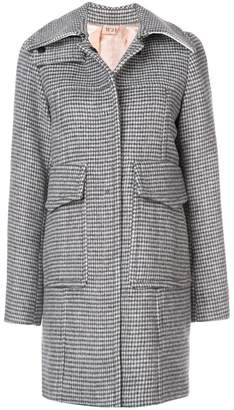 No.21 checked slim-fit coat