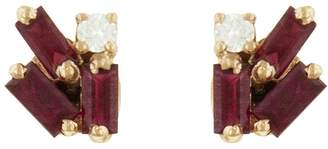 Suzanne Kalan Ruby Baguette and Diamond Firework Stud Earrings - Rose Gold