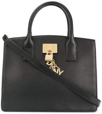 DKNY zip top gold-tone charm tote bag