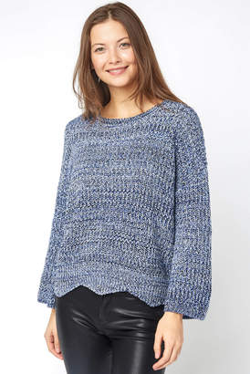 Keighley Marled Knit Scallop Hem Pullover