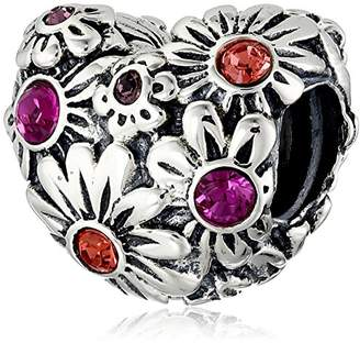 Swarovski Chamilia Sterling Silver and Crystal Zinnia Heart Bead Charm