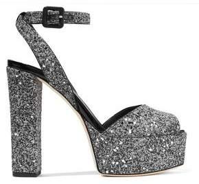 Giuseppe Zanotti Betty Glittered Leather Platform Sandals